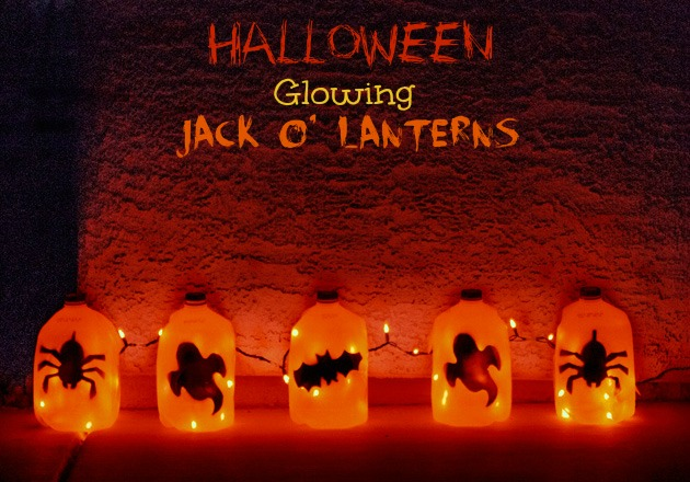 halloween crafts for kids glowing jack o lantern ghost tutorial - Milk Carton Halloween Ghosts