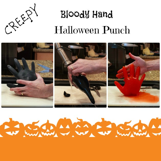 Halloween Party Ideas Bloody Hand Punch | Sassy Girlz Blog