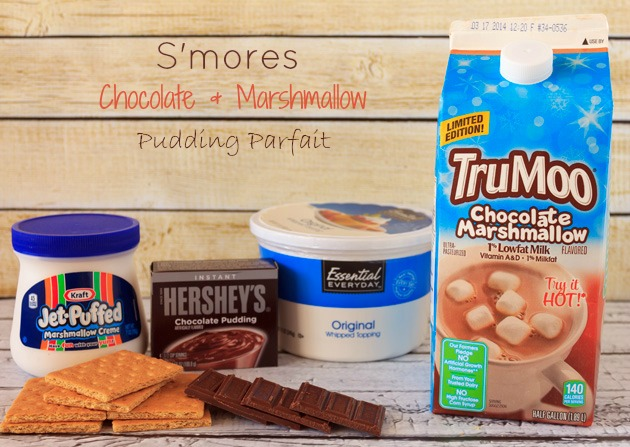 Smores Chocolate Marshmallow Pudding Parfait Ingredients