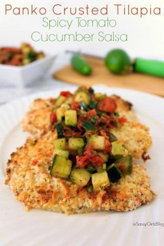 Panko Crusted Tilapia with Spicy Tomato Cucumber Salsa   Sassy Girlz Blog