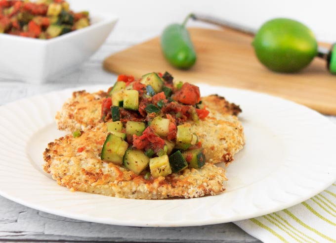 Panko Crusted Tilapia with Spicy Tomato Cucumber Salsa